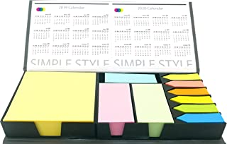 4A Sticky Note Bundle Set, Colored Rectangular Notes and Index Flags Organizer, With Two Year Calendar, Leather Look Design Holder, Gifts for Students and Teachers! 1800 Sheets/Set, 4A BS 1803