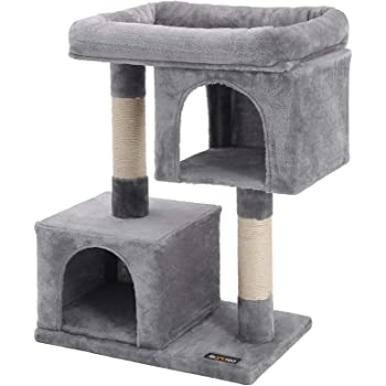 FEANDREA Cat Tree for Large Cats, Cat Tower 2 Cozy Plush Condos and Sisal Posts