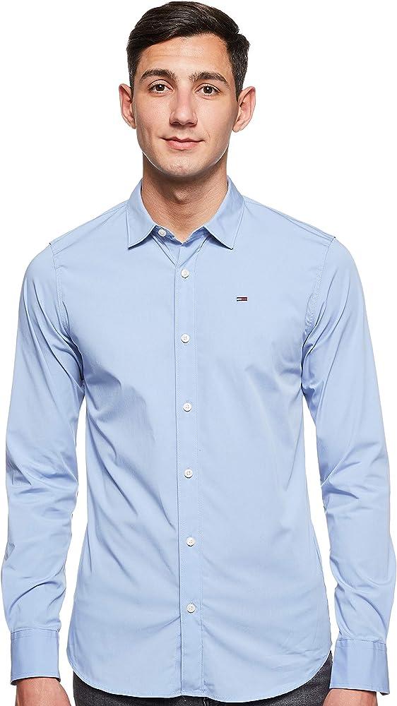 Tommy hilfiger original stretch, camicia casual per uomo, 97% cotone, 3% elastan, celeste DM0DM04405