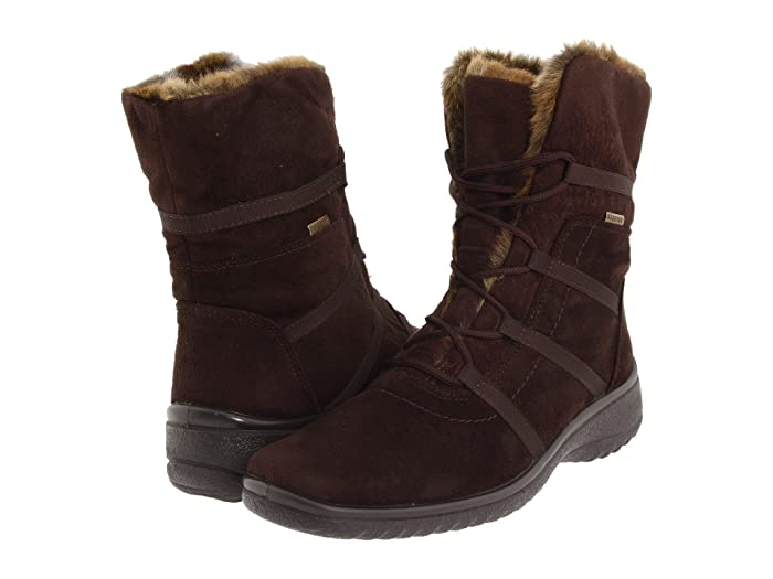 ara  Magaly GORE-TEX (Brown Synthetic Suede with Beige Fur Trim) Womens Lace-up Boots
