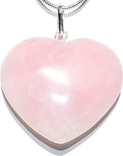 ZENERGY GEMS Charged Himalayan Rose Quartz Heart Perfect Pendant + 20