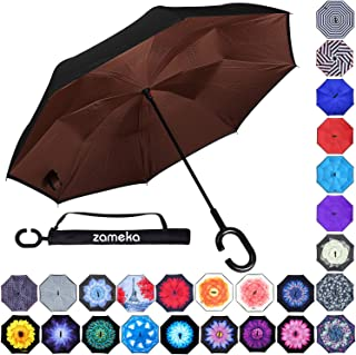 Z ZAMEKA Double Layer Inverted Umbrellas Reverse Folding Umbrella Windproof UV Protection Big Straight Umbrella Inside Out Upside Down for Car Rain Outdoor with C-Shaped Handle, Brown