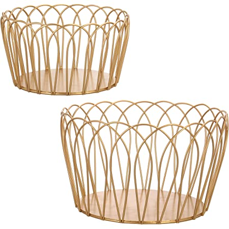 MyGift Gold-Tone Nesting Round Metal Storage Bowls, 10-Inch Large Basket and 7.5 Inch Small Wire Bin