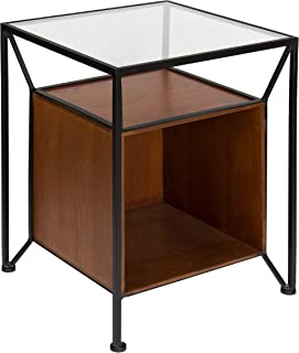 Kate and Laurel Garrod Record Storage End Table, Walnut Brown
