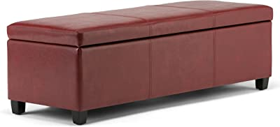 Simpli Home Avalon 48 inch Wide Rectangle Lift Top Storage Ottoman Bench in Upholstered Red Faux Leather with Large Storage Space for the Living Room, Entryway, Bedroom, Contemporary