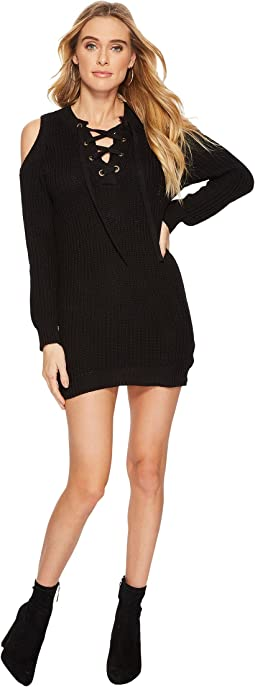J.O.A. - Cold Shoulder Lace-Up Sweater Dress