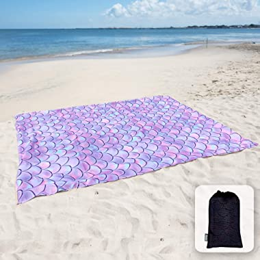 Sunlit Silky Soft Sand Proof Beach Blanket Sand Proof Mat with Corner Pockets and Mesh Bag for Beach Party, Travel, Camping and Outdoor Music Festival,Purple Mermaid Scale