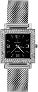 Peugeot Women Square Dress Watch with Crystal Bezel and Soft Steel Mesh Bracelet