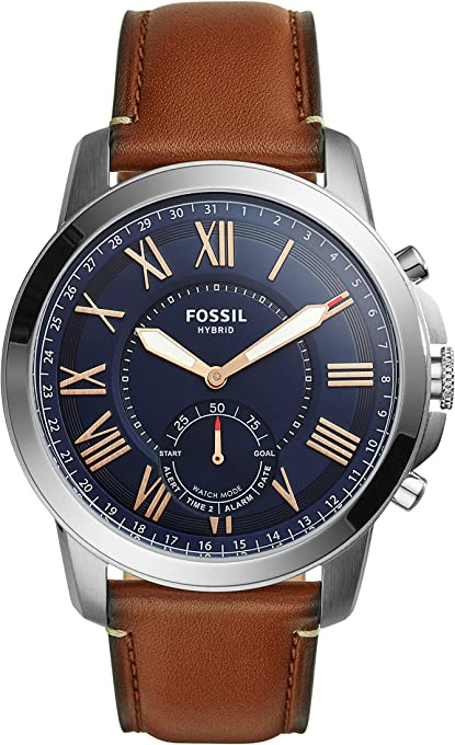 Fossil Men's FTW1122 Q Grant Gen 2 Hybrid Smartwatch Light Brown Leather