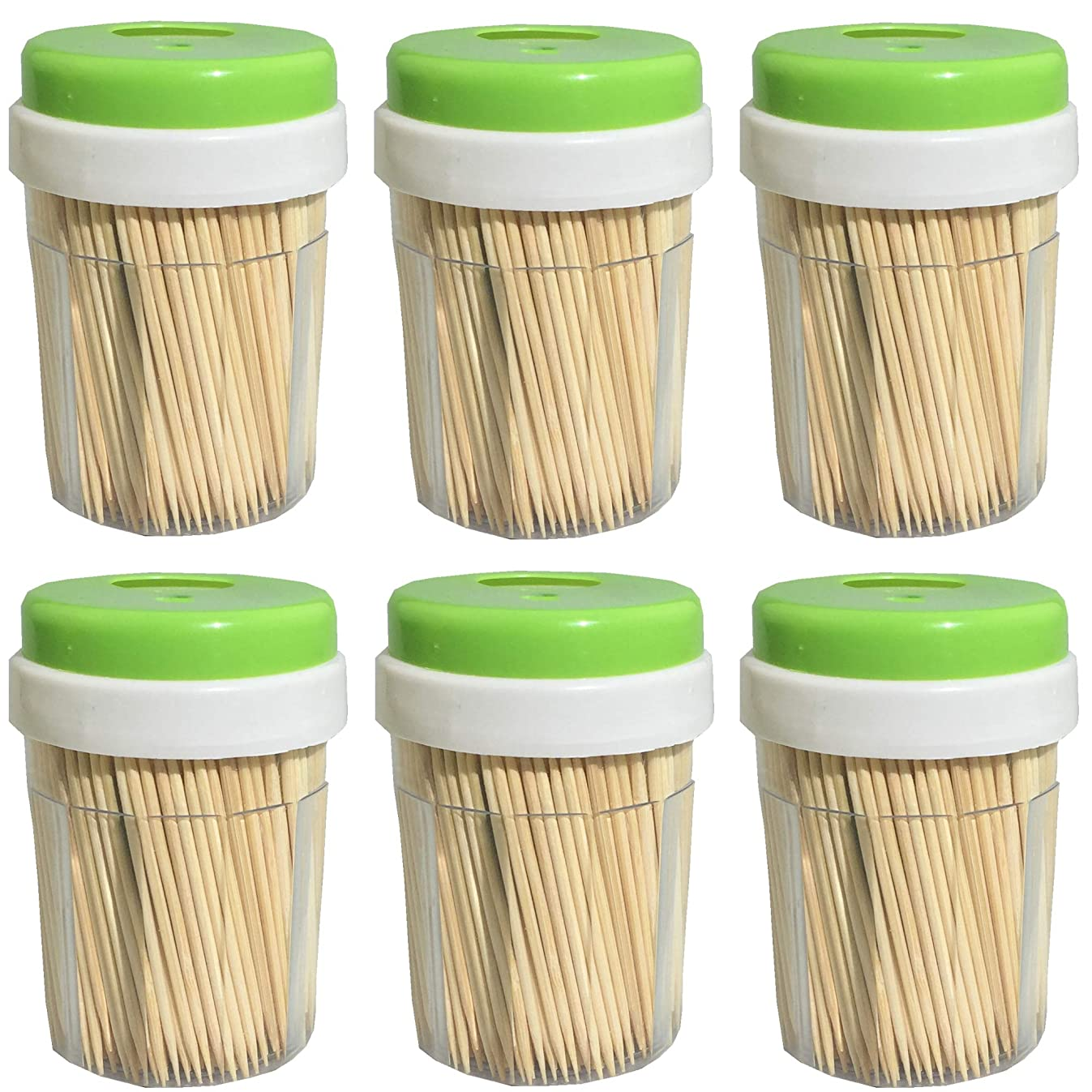 Round Bamboo Wood Toothpicks 3000 Pieces - Splinter-Free Wooden Toothpicks for Teeth with Dispenser
