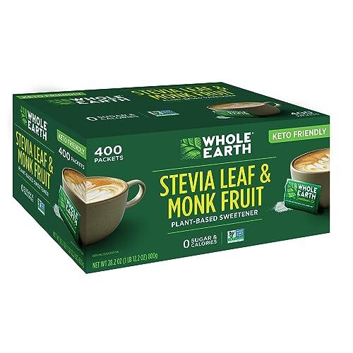 Whole Earth Sweetener Co. Stevia Leaf & Monk Fruit Sweetener, Erythritol Sweetener, Sugar Substitute, Zero Calorie Sweetener, 400 Count Stevia Packets