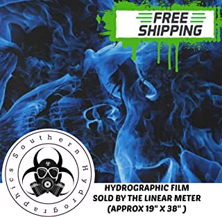 Linear Meter Blue Flaming Fire Skulls flames Hydrographic Water Transfer Film Hydro Dipping Dip