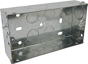 Caja de metal galvanizado, doble de 2 vías, 35 mm, montaje empotrado profundo, 1 unidad
