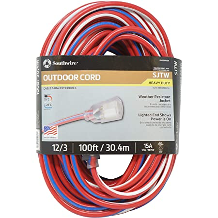 Southwire 2549SWUSA1 100-Feet, Contractor Grade, 12/3 Extension Cord, With Lighted End; Red White And Blue, American Made Extension Cord, Indoor and Outdoor Use, Water Resistant Flexible Jacket