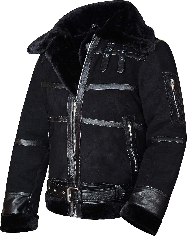 UGFashions Men's B3 Aviator Fur Shearling Flight Belted Collar Motorcycle Black Leather Jacket