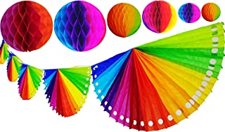 Yani's Gifts Rainbow Tissue Paper Bundle, One 9.5 ft Rainbow Fan Banner That Includes 6 Rainbow Fans + 6 Rainbow Tissue Honeycomb Balls Globes, 2 of Each Size, Perfect Decorations for Cinco de Mayo