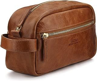 Otto Angelino Genuine Leather Travel Toiletry Dopp Kit, Makeup Shaving Organizer Bag, Case - Unisex - Light Brown