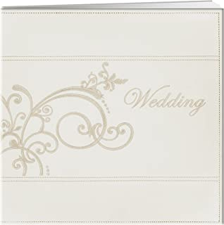 Pioneer 12-Inch by 12-Inch Postbound Embroidered Scroll and Wedding Sewn Leatherette Cover Memory Book, Ivory