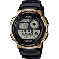 Casio Men's '10 Year Battery' Quartz Stainless Steel and Resin Watch, Color:Black (Model:...