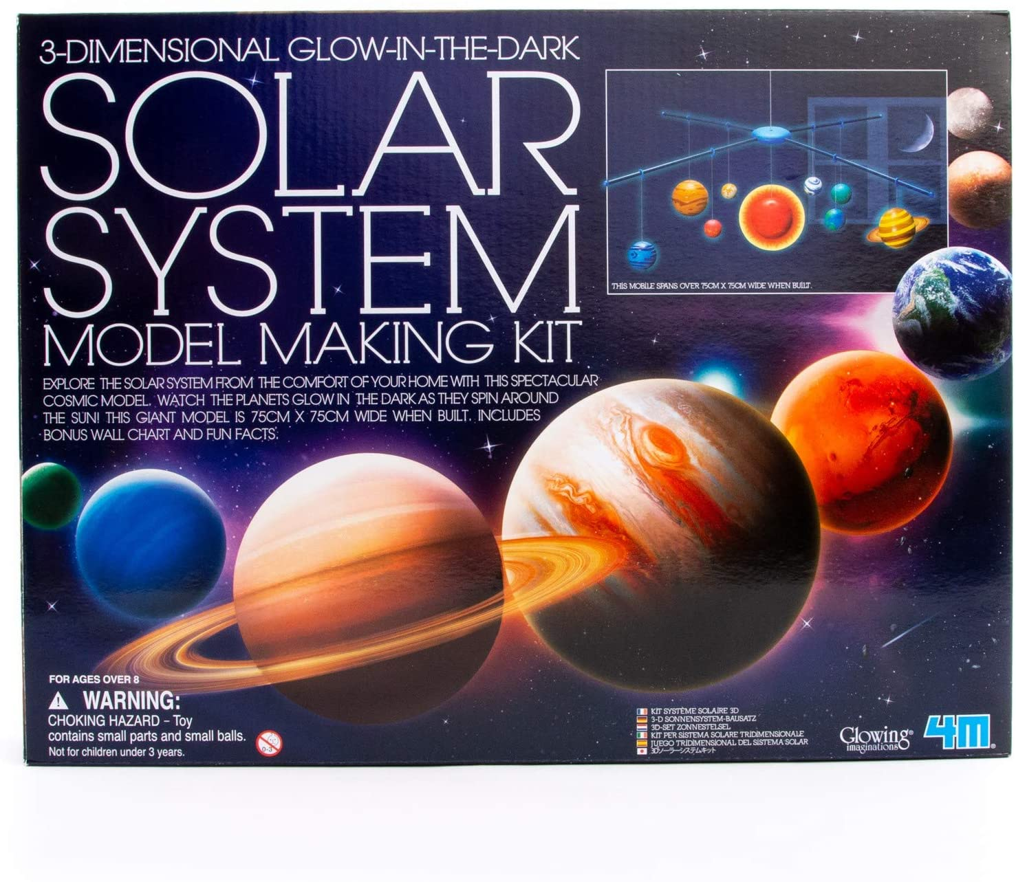 4M 3D Glow-in-the-Dark Solar System Mobile Kit - Super beauty Choice product restock quality top DIY Scie Making