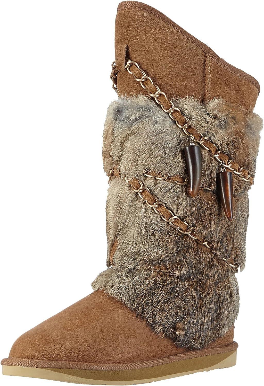 Australia Luxe Collective Womens Atilla Rabbit Fur Sheepskin Winter Boot