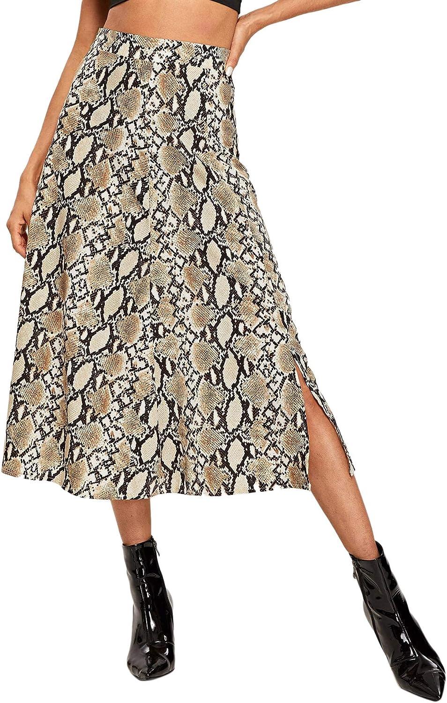 WDIRARA Women's Vintage Snake Skin Mid Waist Long Length Animal Print Skirt
