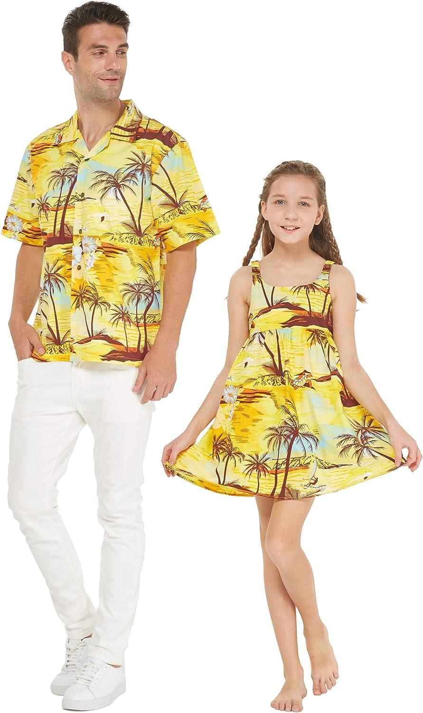 Matching Father Daughter Hawaiian Luau Outfit Men Shirt Girl Dress Sunset and Dolphin Yellow