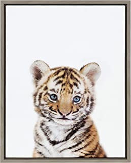Kate and Laurel Sylvie Baby Tiger Portrait Framed Canvas Wall Art by Amy Peterson, 18x24 Gray, Adorable Baby Animal Wall Decor for Bedroom, Nursery, Or Living Room