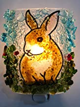 Bunny Rabbit Woodland Creatures Handmade Recycled Glass Night Light Nightlight, Nitelite, Nite Lite