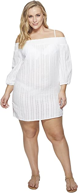 Plus Size Dobby Smocked Off the Shoulder Tunic Cover-Up