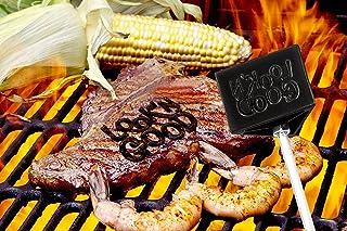 مكواة العلامة التجارية باربوزو للشواء - قم بإسم شرائح اللحم الخاصة بك مع ثلاثة تعبيرات مختلفة - رمز أزرق، لوك أند جود وحرو...