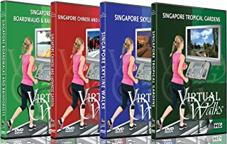 4 Virtual Walks DVD Combo Pack - Singapore City Garden View - Scenic Route Videos for Teadmill Everyday Workouts