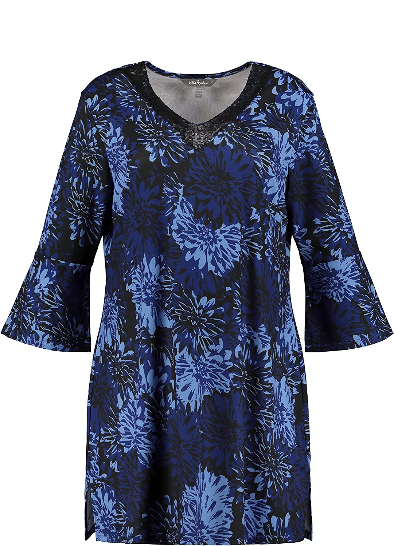 Ulla Popken Womenswear Plus Size Curvy Oversize Tonal Floral Print Sequin Accent Stretch Knit Tunic 794464