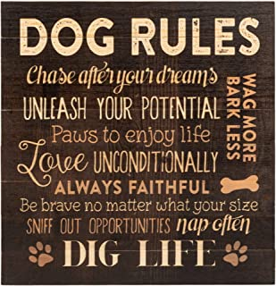 P. Graham Dunn Dog Rules Paw Prints 12 x 12 Wood Pallet Design Wall Art Sign Plaque