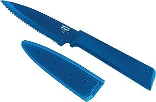 KUHN RIKON, Cuchillo de cocina de sierra antiadherente con funda de seguridad Colori +, 19 cm, Azul