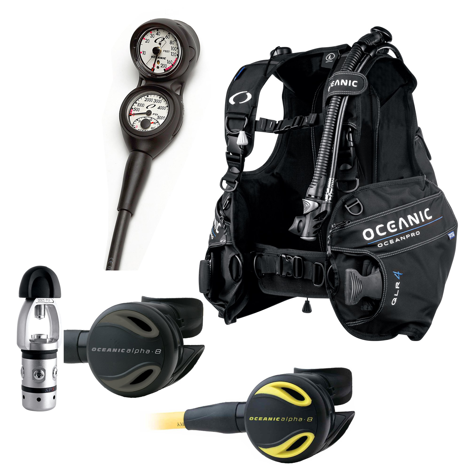 Oceanic Air XS 2 Alternate Inflator Octo Streamline Fit Octopus Hose and Set up Options for Scuba Diving Dive Gear BCD Inflator Authorized Dealer Full Warranty
