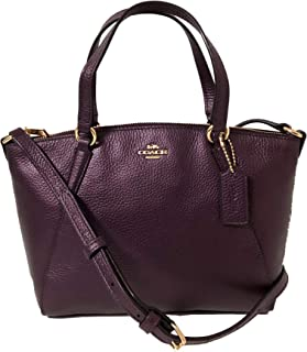 Coach Pebble Leather Mini Kelsey Satchel Crossbody Handbag (IM/Metallic Raspberry)