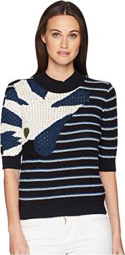 Bouclette Stripes Short Sleeve Sweater