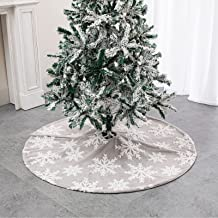 DegGod Gray Christmas Tree Skirts, 36 inches Plush Velvet Xmas Tree Skirt Mat with White Snowflakes for Christmas Thanksgi...