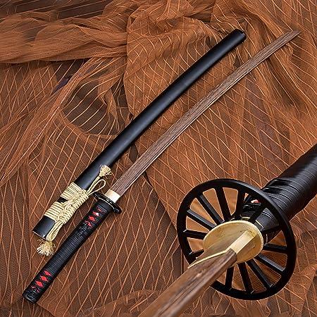 Hoja de Palisandro Bokken, Katana de Madera Hecha a Mano con Funda, Espadas samuráis de 103 cm para Entrenamiento de Kendo, Cosplay, colección, decoración del hogar
