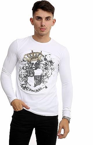 8055 605 T-Shirt à hommeches longues - Homme - Blanc - S