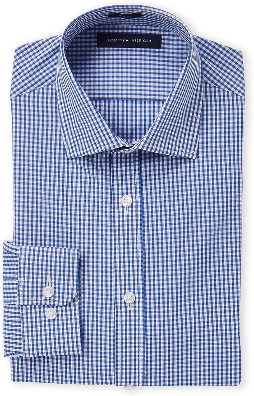 Tommy Hilfiger Men's Royal Blue Plaid Slim Fit Dress Shirt Size 16.5 32/33