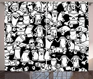 Ambesonne Urban Graffiti Curtains, Anthropomorphised Graffiti Spray Can Sport Characters and Skull, Living Room Bedroom Window Drapes 2 Panel Set, 108