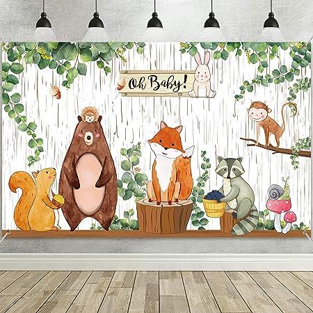Telón de Fondo de Ducha Bebé Bosque, Fondo de Fiesta de Cumpleaños de Animales Selva de Tela Grande Fondo de Bosque de Criaturas Bqosque para Fiesta de Bienvenida de Niños, 72,8 x 43,3 Pulgadas