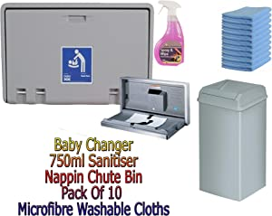 Baby Changing Table Horizontal Wall Mounted with chute bin microfibre cloths and 750ml sanitiser