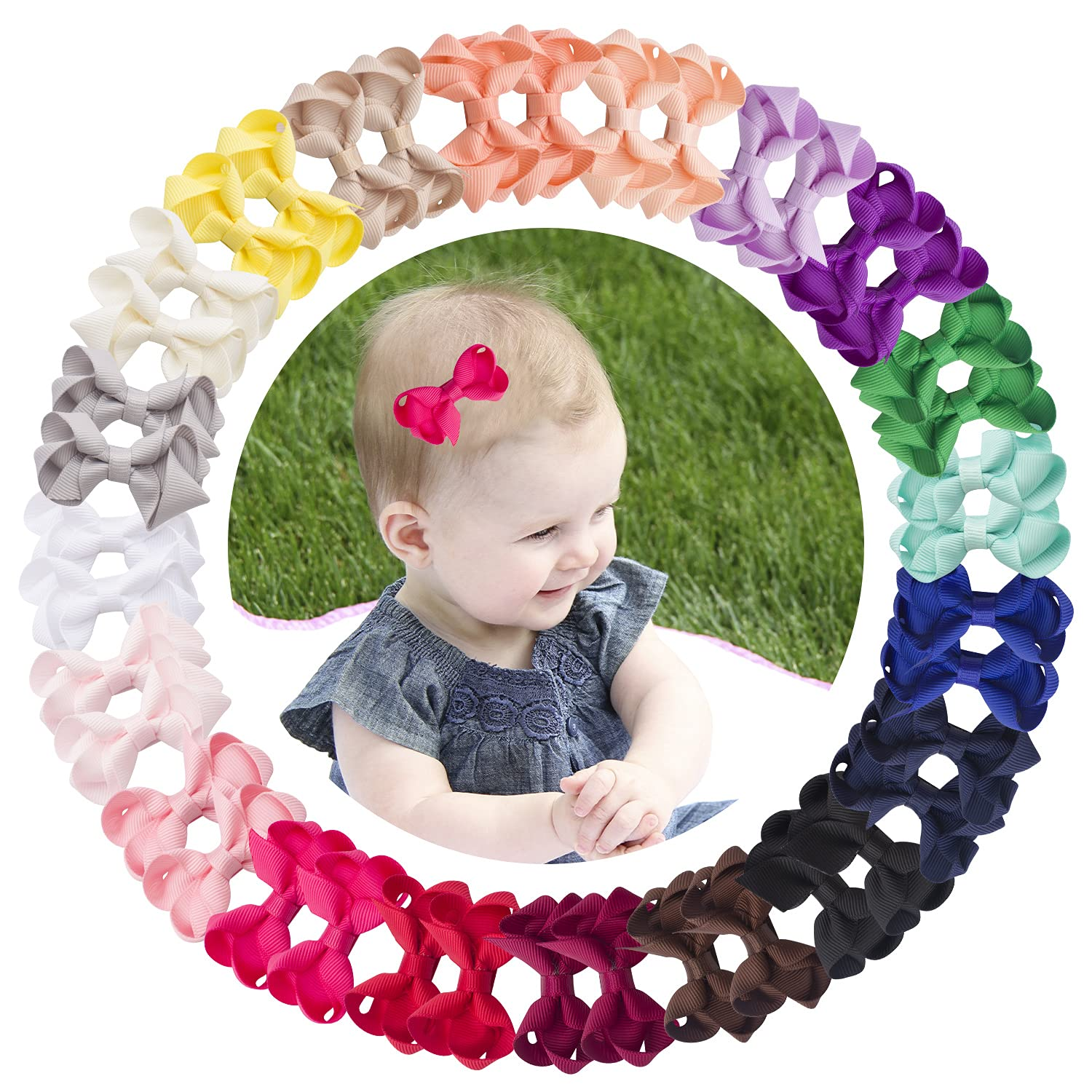 VINOBOW Ranking TOP8 40Piece 2Inch Small Grosgrain Hair Bows Oakland Mall Clips