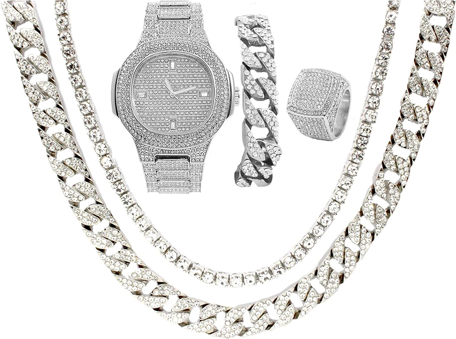 Japan Maker New 14k Silver Plated Bling-ed Out Safety and trust Oblong Watch Mens Ma Case w Metal