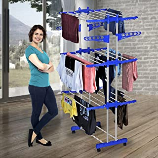 KTS Heavy Duty Rust-Free Stainless Steel Double Pole Cloth Drying Stand | Clothes Dryer Stands | Laundry Racks with Wheels...