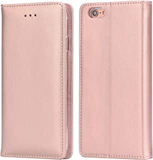 iPhone 6S Plus Leather Case, IPHOX Premium Folio Leather Wallet Case with [Kickstand] [Card Slots] [Magnetic Closure] [Hand Strap] Flip Notebook Cover Case for iPhone 6/6S Plus E (Rosegold)