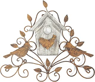 Metal & Wood Tree Wall Decor with Birds & House